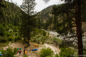 Some classic Salmon River Drainage life-styling  at a camp on river-right above Mule Kick.