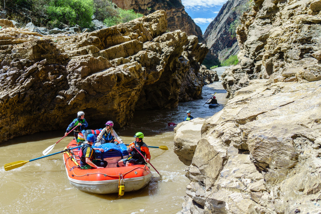 Early on, the river goes through this narrow canyon called Yesojirca Narrows. It's not more than a foot wider than our raft and has a squirrely entrance.